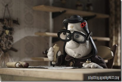 Mary Daisy Dinkle (voiced by Toni Collette) writing to her pen pal, Max Jerry Horovitz (voiced by Philip Seymour Hoffman) in Mary and Max, directed by Adam Elliot